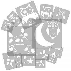 14 pochoirs en plastique réutilisable // Hibou - Chouette - Lune - Branche // 34cm à 8cm // modèles de peinture pour enfants // décoration de la chambre des enfants de la marque Nakleo image 0 produit