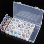 2 organiseurs à 28 boîtes colorées - Pour broderie/peinture à diamants, accessoires en strass, artisanat, bricolage, mosaïque - 17,5 x 10,7 x 2,5 cm de la marque KRUCE image 4 produit