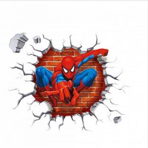 3D Spiderman Super Hero Sticker Mural Pour Enfants Chambre Décoration Avengers Maison Chambre Pvc Décoration De Bande Dessinée Film Mural Mur Art Decal 45X50Cm de la marque YLGG image 0 produit