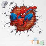 3D Spiderman Super Hero Sticker Mural Pour Enfants Chambre Décoration Avengers Maison Chambre Pvc Décoration De Bande Dessinée Film Mural Mur Art Decal 45X50Cm de la marque YLGG image 1 produit