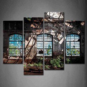 4panneaux Art mural abandonné Intérieur industriel avec lumière vive Ruine fenêtre Plante Peinture la photo sur toile de lin Architecture photos pour pièce de décoration de maison en bois Cadre prête à suspendre de la marque First-Wall-Art image 0 produit