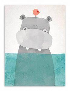 Affiche Enfant Chambre Animaux Hippopotame Tableau Peinture sur Toile Decoration Murale Poster Mural Cadeaux Anniversaire NPTWC001-L de la marque Nordic Ideas image 0 produit