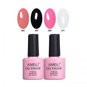 AIMEILI Soak Off UV LED Nude Noir Rose Blanc Vernis à Ongles Gel Semi-Permanent Lot Color Mix/Multi-Colored Set Ensemble de Couleurs 4 X 10ml - Kit 1 de la marque AIMEILI image 0 produit