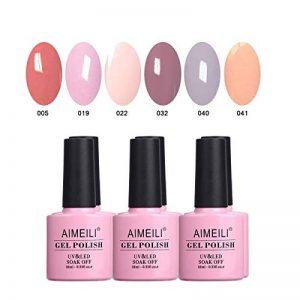 AIMEILI Soak Off UV LED Nude Pastel Vernis à Ongles Gel Semi-Permanent Lot Color Mix/Multi-Colored Kit Set Ensemble de Couleurs 6 X 10ml - Set 22 de la marque AIMEILI image 0 produit