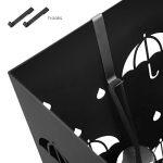 amzdeal Porte Parapluies en Métal 55x18x18cm Carrée, Rangement de Parapluie avec 2 Crochets et 1 Plateau Design Moderne - Noir avec Motifs Ciselés, pour Entrée de Maison Bureau Hôtel Magasin de la marque amzdeal image 3 produit