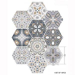 Ancoree 3D Style de Céramique Artistique Créative Carrelage Hexagonal Autocollant Salle de Bain Cuisine Maison Plancher Autocollant Amovible en PVC Antidérapant et Résistant Autocollant (I) de la marque Ancoree image 0 produit