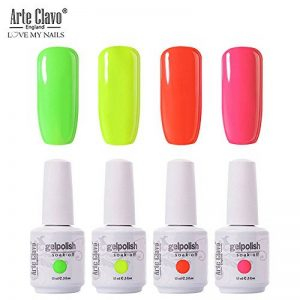 Arte Clavo Lot de 4 vernis à ongles gel UV LED 15 ml Couleurs fluo pastel pour manucure pédicure Nail Art Beauty Salon Home Starters and Practice Use de la marque Arte Clavo image 0 produit