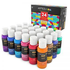 ARTEZA Coffret peinture enfant tempera 24 couleurs | Peinture gouache enfant | Gouache en tube 29 ml | Peinture enfant lavable avec paillettes, métallisée, fluorescente ou standard de la marque ARTEZA® image 0 produit