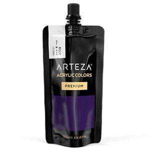 ARTEZA Peinture acrylique violet haut de gamme | Poche/tube plastique 120ml| Pigments Haute Densité |Peinture sur toile | Peinture bois | Palette peinture plusieurs couleurs disponibles de la marque ARTEZA® image 0 produit