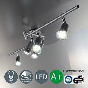 B.K. Licht plafonnier 6 spots orientables avec ampoules LED GU10, spots plafond, éclairage intérieur salon salle à manger cuisine couloir chambre, lumière blanche chaude, 230V, IP20, 6x3W de la marque B-K-Licht image 0 produit