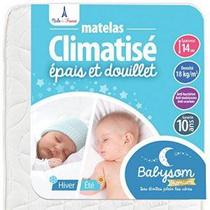 Babysom - Matelas Bébé Climatisé Eté/Hiver - 70 x 140cm - Epaisseur 14cm - Anti acarien - Fabrication francaise - Garantie 10ans de la marque Babysom image 0 produit