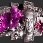BD XXL murando - Impression sur Toile - 200x100 cm cm - 5 Pieces - Image sur Toile - Images - Photo - Tableau - Motif Moderne - Décoration - tendu sur Chassis - Bouddha Fleurs Diamant h-C-0029-b-o de la marque BD-XXL image 3 produit