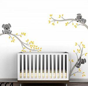 Bdecoll Autocollant mural Koala arbre---Décor moderne de nursery-pour chambre d'enfants/bébés (Grey Yellow) de la marque BDECOLL image 0 produit