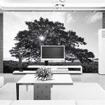 BIZI Décoration Murale Papier Peint 3D Moderne Simple Noir Et Blanc Arbre Paysage Peinture Murale Salon Salon TV Canapé Fond Adhésif Coller Le Papier de la marque BIZI image 2 produit