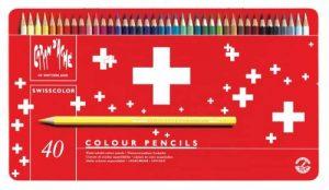 Caran d'Ache Crayons de couleur Swisscolor dans boîte en métal (Lot de 40),Multicolore de la marque Caran-dAche image 0 produit