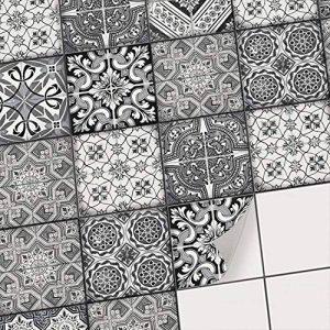 Carreaux Autocollants adhésifs decoratifs pour carrelage Salle de Bain et crédence Cuisine I Sticker carrelage de Ciment adhesif Mural - 10x10 cm (20 piéces) - Design Noir et Blanc de la marque creatisto image 0 produit