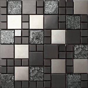 Carrelage mosaïque en verre et acier inoxydable. Noir, Argent. Les feuilles entières de carreaux mesurent 30cm x 30cm (MT0002) de la marque GTDE image 0 produit