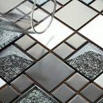 Carrelage mosaïque en verre et acier inoxydable. Noir, Argent. Les feuilles entières de carreaux mesurent 30cm x 30cm (MT0002) de la marque GTDE image 2 produit