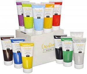 Creative Deco Peinture Acrylique XXL | Lot 12 Grands Tubes 100 ML | Fabriqué en UE | Idéal pour Enfants Débutants Étudiants Artistes Professionnels | Idéal pour Bois Toile Tissu et Papier de la marque Creative-Deco image 0 produit