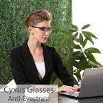 Cyxus lumière bleue lunettes demi-trame [Transparent Lentille] anti fatigue oculaire, grande pour les lecteurs d'ordinateur/téléphone portable/jeu(noir cadre) de la marque Cyxus image 2 produit