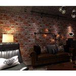 DSZQ Papier Peint Vintage Style Country Américain Papier Peint Brique Effet 3D PVC Décoration Murale pour Bars/Cafés/Restaurants LMD-058 (Couleur : A, taille : 393in*20.8in) de la marque DSZQ image 1 produit