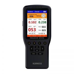 Détecteur de surveillance de la qualité de l'air intérieur IGERESS Tests précis Formaldéhyde (HCHO) TVOC PM2.5 PM1.0 PM10 Pollution de l'air avec température, humidité Enregistrement en temps réel de la marque IGERESS image 0 produit