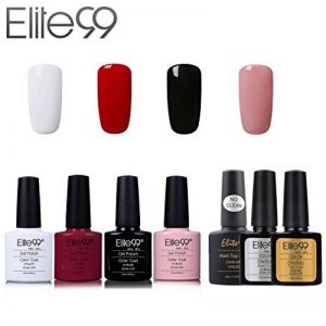 Elite99 Vernis Semi permanent Vernis à Ongles Gel UV LED Soakoff 7pcs Kit Manicure Pour Ongle avec Base Coat, Top Coat Brillant, Top Coat Mat 7.3ml - Kit001 de la marque Elite image 0 produit