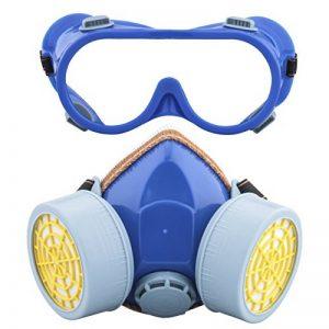 Ewolee Masque de Protection Respiratoire Filtrant Complète Contre Peinture Chimique Industriel, Masque Gaz Pour Contre Pesticides, Masque Anti-Poussière avec Deux Soupapes Lunettes Set, Bleu de la marque Ewolee image 0 produit