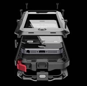 Facil&co Coque [Solide, Robuste et Rigide] Iphone 5 5S Se Antichoc Armor [Ecran de Protection en Verre Trempé], Silicone Aluminium et Metal la Plus Dure jamais conçue de la marque Facil-co image 0 produit