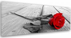 Feeby Frames, Tableau imprimé XXL, Tableau imprimé sur Toile, Tableau Deco, Canvas 40x100 cm, Planches, Rustique, Rose, Rouge, Gris de la marque Feeby-Frames image 0 produit