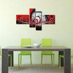 Fokenzary - Peinture à l'huile peinte à la main de Morden, style abstrait, motif fleuri explosive sur toile tendue et encadrée, Toile, Black/Red, 16x20inx2pcs,10x32inx2pcs de la marque Fokenzary image 1 produit