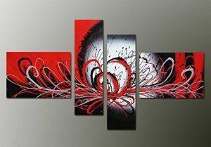 Fokenzary - Peinture à l'huile peinte à la main de Morden, style abstrait, motif fleuri explosive sur toile tendue et encadrée, Toile, Black/Red, 16x20inx2pcs,10x32inx2pcs de la marque Fokenzary image 0 produit