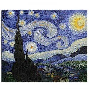 Fokenzary - Peinture à l'huile peinte à la main sur toile - Reproduction de La Nuit étoilée de Van Gogh - Encadrée, prête à être suspendue, Toile, 50 x 60 cm de la marque Fokenzary image 0 produit