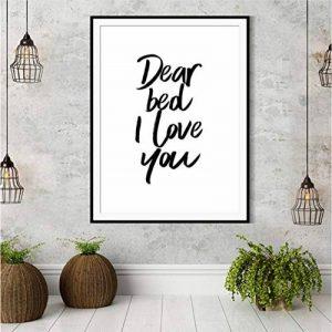 gaowei Cher lit Je t'aime Typographie Affiches décoration Murale Affiches Noir et Blanc Impression devis Citation Chambre Mignonne Chambre 50x70cm de la marque gaowei image 0 produit