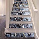 GPFDM 3D Pierres dans la rivière Autocollants pour escaliers Paysage naturel DIY Mural Auto-adhésif PVC Stickers muraux pour Salon, Plinthe de chambre à coucher, Couloir Décorations Durable , 1 Set 18 pcs , 100*18cm de la marque GPFDM Stickers image 3 produit