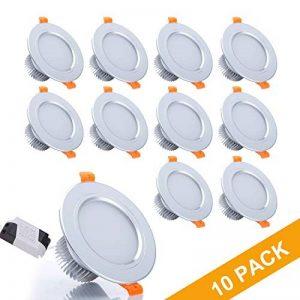 Gr4tec 10x LED Spots Encastrables, Lampe de Plafond avec Transformateur Blanc Froid Plafonnier Encastré 3W 300lm Equivalente de 30W d'éclairage 220V IP44 RA80 Non Dimmable de la marque Gr4tec image 0 produit