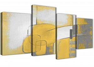 Grande Jaune moutarde Gris Peinture abstraite Chambre à coucher images sur toile Décor–4419–130cm Lot de Impressions Wallfillers de la marque Wallfillers image 0 produit