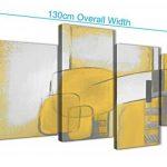 Grande Jaune moutarde Gris Peinture abstraite Chambre à coucher images sur toile Décor–4419–130cm Lot de Impressions Wallfillers de la marque Wallfillers image 2 produit