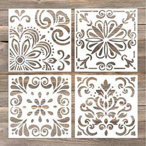GSS Designs Lot de 4pochoirs Lot (15,2x 15,2cm) Découpe Laser Peinture Pochoir de sol pour carrelage Bois de tissu Modèle de pochoirs–réutilisable (Sl-006) de la marque G GSS Designs image 0 produit