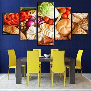 Gwgdjk Hd Prints Affiche Home Decor Toile Photos Œuvres 5 Pièces Fruits Aliments Peintures Pour Cuisine & Restaurant Mur Art Cadre-40X60/80/100Cm,Without Frame de la marque gwgdjk image 0 produit