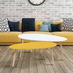 IDMarket - Lot de 2 Tables Basses gigognes laquées Jaune Blanc scandinave de la marque IDMarket image 1 produit