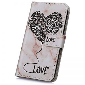 JAWSEU Coque Etui iPhone XR Portefeuille Cuir à Rabat, Luxe Mode Coeur d'amour Marbre Étui Ultra Mince Leather PU Wallet Flip Case Stand Magnetique Bumper Case de la marque JAWSEU image 0 produit