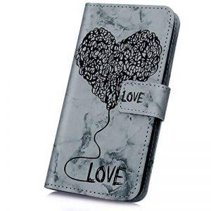 JAWSEU Coque Etui LG Q6 Portefeuille Cuir à Rabat, Luxe Mode Coeur d'amour Marbre Étui Ultra Mince Leather PU Wallet Flip Case Stand Magnetique Bumper Case de la marque JAWSEU image 0 produit