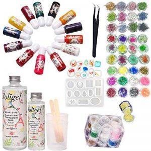 Joligel AB Résine Epoxy Transparent 400 ml + 13 couleurs de pigment + moule pour pendentifs (12 formes) + 48 décorations (paillettes + papier glassine + fleurs séchées + fleurs de corail) + pinces de la marque Joligel image 0 produit