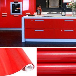 KINLO 5M Papier Peint Adhésif Rouleaux Reconditionné pour Armoires de Cuisine en PVC Self Adhesive Autocollant Meubles Porte Mur Placards Stickers Mural - Rouge de la marque KINLO image 0 produit