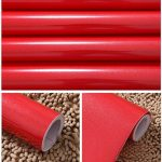 KINLO 5M Papier Peint Adhésif Rouleaux Reconditionné pour Armoires de Cuisine en PVC Self Adhesive Autocollant Meubles Porte Mur Placards Stickers Mural - Rouge de la marque KINLO image 3 produit