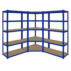 Kit d'étagères de garage en coin ultra-résistantes - 1 élément en coin de 1800x 900x 450mm et 2éléments d'étagères de 1800 x 900 x 450mm (H x l x P) - Grande capacité de stockage de 4125kg de la marque Racking Solutions image 0 produit