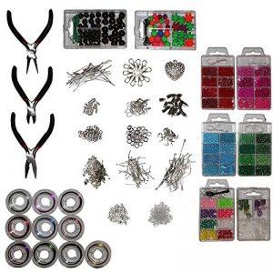 Kit de fabrication bijoux - Creation de bijoux avec 3 Pinces set, 10 câbles multicolores ,8 boîtes de perles ,12 Argent Plaqué Apprêts ,1 pendentif en coeur pour Colliers Boucles d'Oreilles et Bracelets de la marque Kurtzy image 0 produit