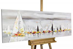 KunstLoft® tableau peinture sur toile à l'huile 'Les sept mers' 150x50cm | tableau acrylique peint à la main | Toile sur cadre bois | Bateaux à voiles haute mer naviguer de la marque KunstLoft image 0 produit