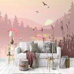 LANYU Papier Peint, Simple Paysage De Flamant Rose Paysage Mural Papier Peint Intérieur De La Chambre À Coucher Fond Décoration Murale Papier Peint 3D, 250 * 175Cm de la marque LANYU image 4 produit